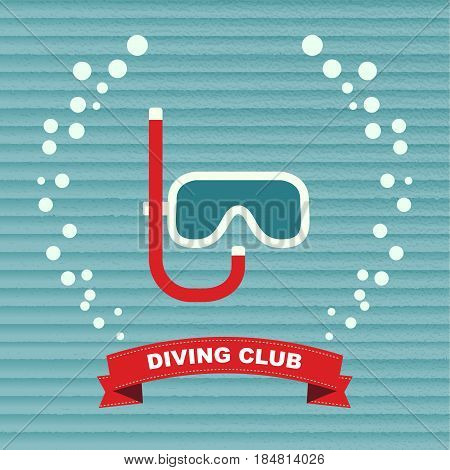 Diving Branding Identity Corporate vector logo design template. Dive Mask with bubbles water, logo, symbol, icon, graphic. Diving mask with snorkel. Symbol underwater recreation.