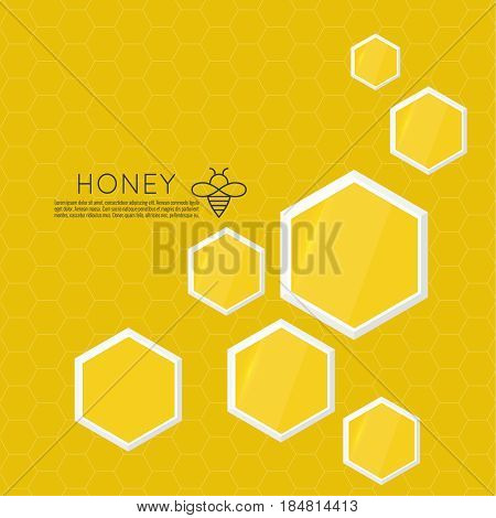 Vector icon honeycomb. Abstract background with yellow honey comb. Hexagon and drop. isolated illustration. Contemporary modern style design. Flying honeybee. Bee insect.