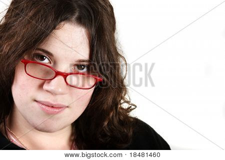 Girl with red glasses on white background
