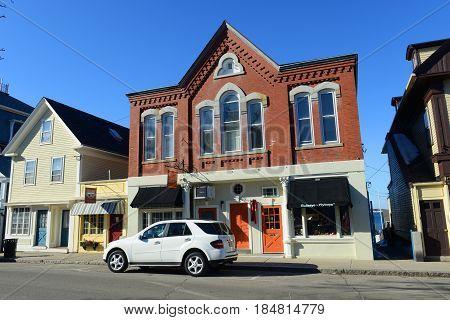 ROCKPORT, MA, USA - MAR. 6, 2015: Historic building Brackett's Oceanview Restaurant in downtown Rockport, Massachusetts, USA.