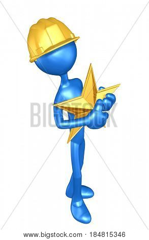 Construction Worker With Star The Original 3D Character Illustration