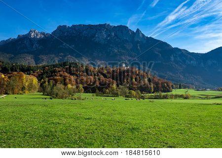Amazing alpine countryside landscape in the autumn time. Austria Tirol Tyrol