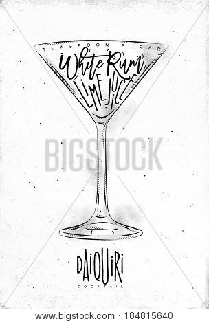 Daiquiri cocktail lettering teaspoon sugar white rum lime juice in vintage graphic style drawing on dirty paper background