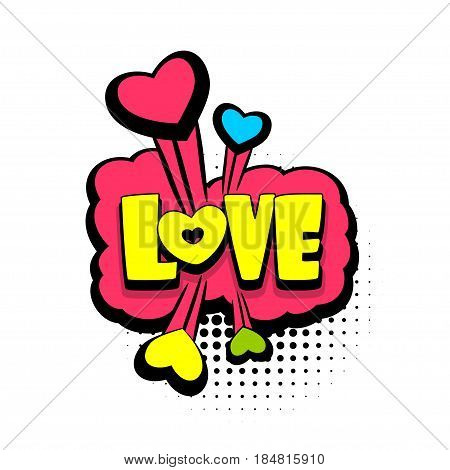 Lettering love, heart, boom explosion. Comics book balloon. Bubble icon speech phrase. Cartoon font label tag expression. Comic text sound effects. Sounds vector illustration.