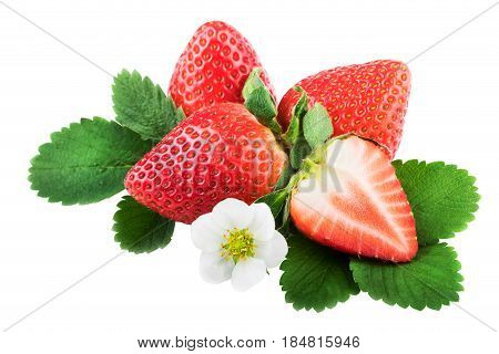 Isolated strawberries with leaves. Whole and half strawberry on white with clipping path