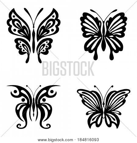 Set of black butterflies silhouettes isolated on white background. Vintage illustration can be used for tattoo, logo, web, print design, logotype and branding.