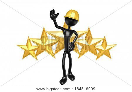 Construction Worker With Stars The Original Character 3D Illustration