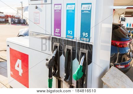 Samara Russia - April 30 2017: Filling the column with different fuels at the gas station Lukoil. Lukoil is one of the russian oil companies