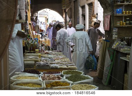 Nizwa Oman Mrch 17th 2016: omani man in an old market