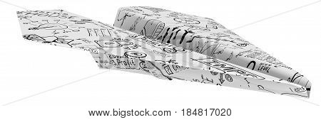 Paper airplane made from a sheet with business sketches. Isolated. 3D Illustration