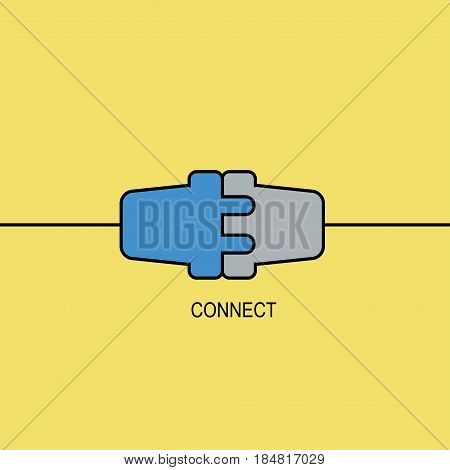 Cooperation interaction. Vector illustration. Success. Abstract background with wire plug and socket. Concept connection, connection, disconnection, electricity. Flat design.