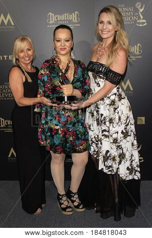 PASADENA - APR 28: Linda Osgood, Anzhela Adzhiyan, Nicole Moore, Outstanding Hairstyling for General Hospital at the 44th Daytime Creative Arts Emmy Awards Gala on April 28, 2017 in Pasadena, CA