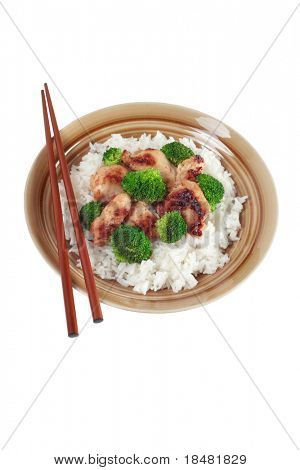 Chicken Stir fry with rice and veggies Isolated