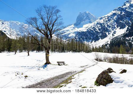 Mountain landscape in the early springtime. Austria Tyrol Karwendel Alpine Park near Gramai