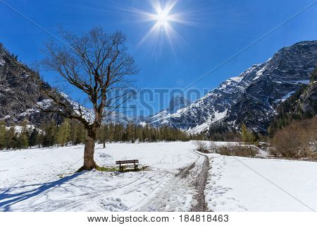 Mountain landscape in early springtime with clear blue sky and sunshine. Austria Tyrol Karwendel Alpine Park near Gramai