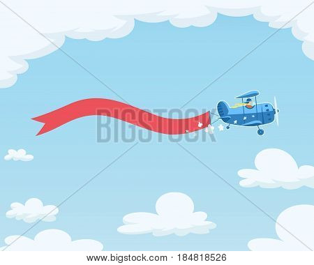 Airplane with flag flying in sky. Vector illustration.