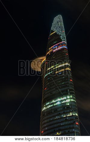 HO CHI MINH CITY VIETNAM - March 27 2917 : Night View of The Bitexco building. Bitexco Tower is the highest building in HCMC