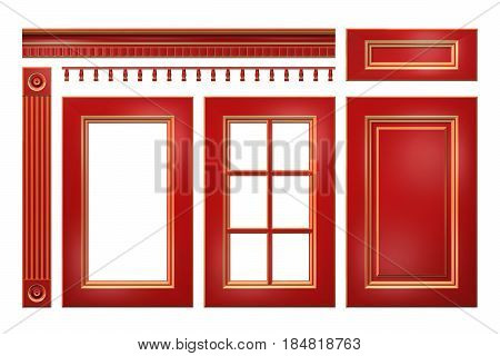 Red with gold door, drawer, column, cornice, for kitchen cabinet isolated on white