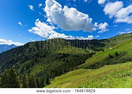 Summer mountain landscape. Austria Tirol Zillertal High Alpine Road