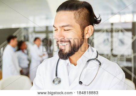 Young man in medical apprenticeship during medical school studies