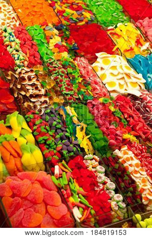 many sorts of colorful tasty gelly sweets