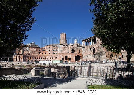 ancient Roman ruins in Foro Traiano (Trajan's Forum)