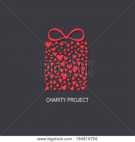 Charity project logo  with heart box. Vector illustration.