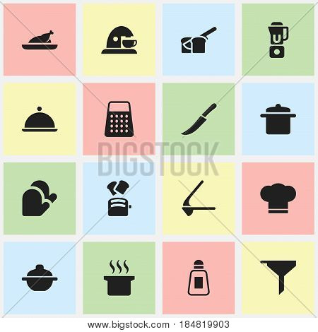 Set Of 16 Editable Cook Icons. Includes Symbols Such As Cookware, Saucepan, Crusher And More. Can Be Used For Web, Mobile, UI And Infographic Design.