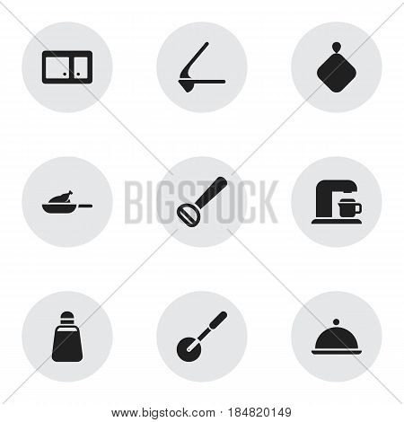 Set Of 9 Editable Meal Icons. Includes Symbols Such As Crusher, Pot-Holder, Sideboard And More. Can Be Used For Web, Mobile, UI And Infographic Design.