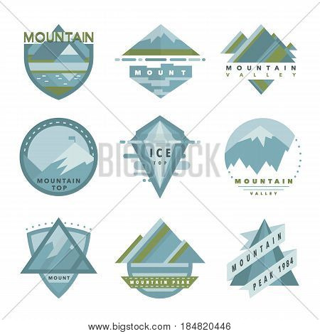 Set of mountain adventure, outdoor camp and expedition logo badges and patches in vector. Collection of mountain logo template, icons, symbols.