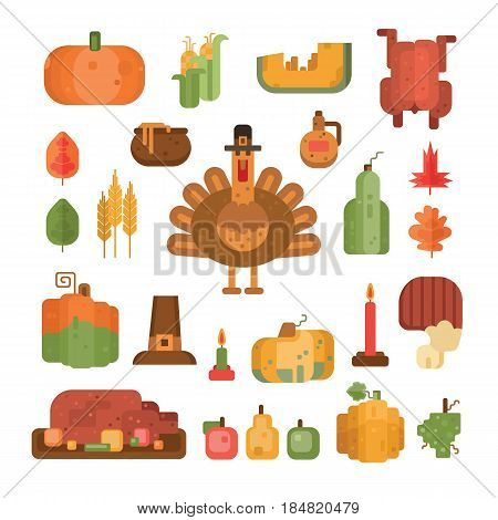Set of colorful flat geometric icons for Thanksgiving day. Pumpkin and turkey symbols for Thanksgiving day. Elements for postcard and invitation. Food icon for thanksgiving dinner. Vector illustration