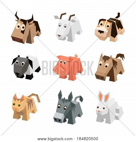 Vector set of different cartoon isometric animals. Isolated cute animals. Elements of geometric animals for game. Icon collection of farm and home animals