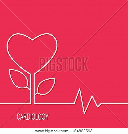Cardiology design over red background. Vector illustration