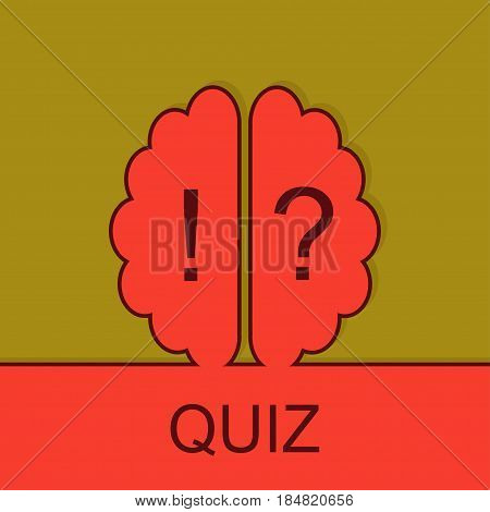 Quiz sign with outline brain icon. Concept of mental, voting,psychology, meditation, game. Survey poll or questionnaire feedback form. Questions and answers game sign.