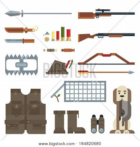 Flat modern design vector icons set of real man tools and equipment. Icon collection in stylish colors of gentleman hunting things, stuff, goods, items, elements, objects. Vector illustration.