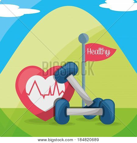 mountain with weights and heartbeat healthy body, vector illustration