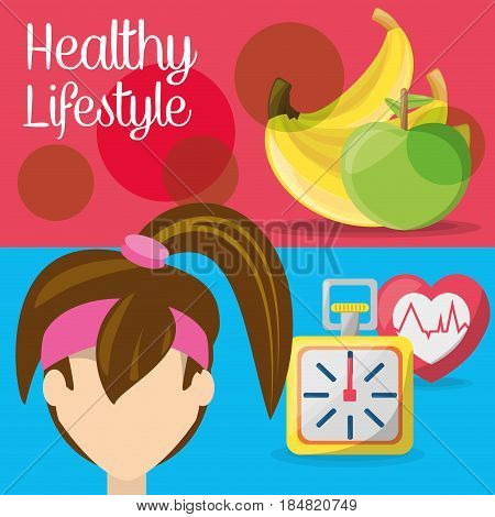 fitness woman with fruits, chronometer and heartbeat, vector illustration