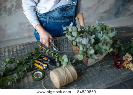 Female  In Gray Blouse And Jeans Make A Bouquet Over Gray Background, Putting Roses In Vase, Flowers