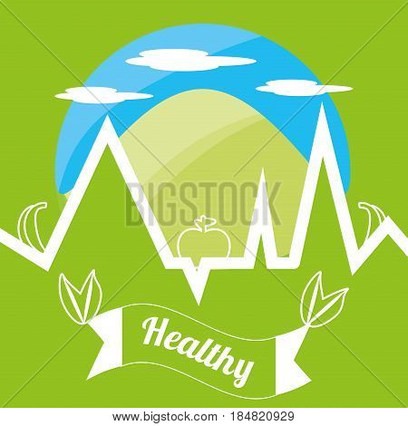 cute healthy lifestyle logotype with mountain and ekg, vector illustration
