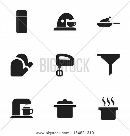 Set Of 9 Editable Meal Icons. Includes Symbols Such As Agitator, Refrigerator, Drink Maker And More. Can Be Used For Web, Mobile, UI And Infographic Design.