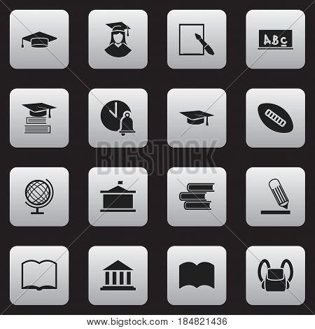 Set Of 16 Editable Education Icons. Includes Symbols Such As Book, Dictionary, Museum And More. Can Be Used For Web, Mobile, UI And Infographic Design.