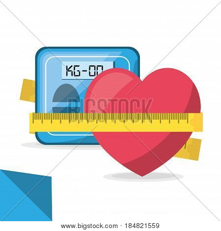 weighing mashine and apple with measuring, vector illustration design