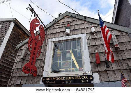 ROCKPORT, MA, USA - JUL. 25, 2015: Historic Gallery on Bearskin Neck in downtown Rockport, Massachusetts, USA.