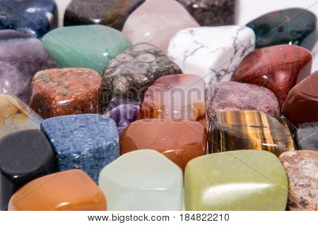 Colorful collection gemstone gem jewel mineral precious shiny