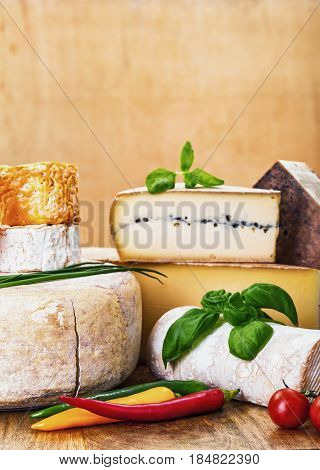 Many Types Of French Cheese And Vegetables