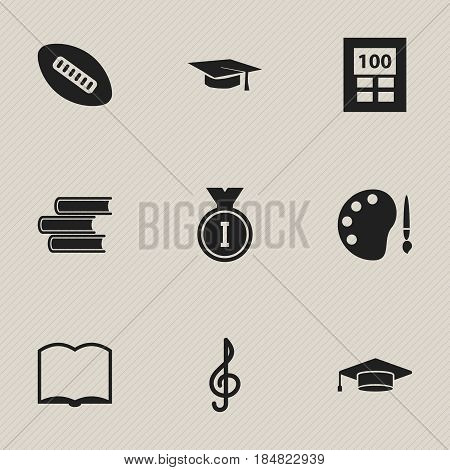Set Of 9 Editable School Icons. Includes Symbols Such As Calculator, Quaver, Book And More. Can Be Used For Web, Mobile, UI And Infographic Design.