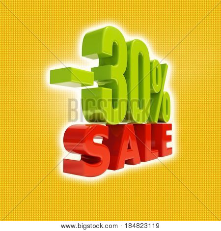 3d render: 30 Percent Discount, Sale Up to 30%