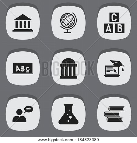 Set Of 9 Editable Education Icons. Includes Symbols Such As Thinking Man, Earth Planet, Distance Learning And More. Can Be Used For Web, Mobile, UI And Infographic Design.