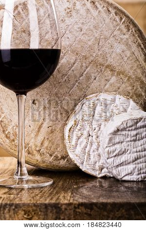 French Cheese And Glass Of Wine