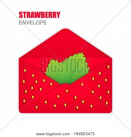 Red Open Envelope with the texture of strawberries, strawberry leaves inside. Template for Your Business. Vector illustration